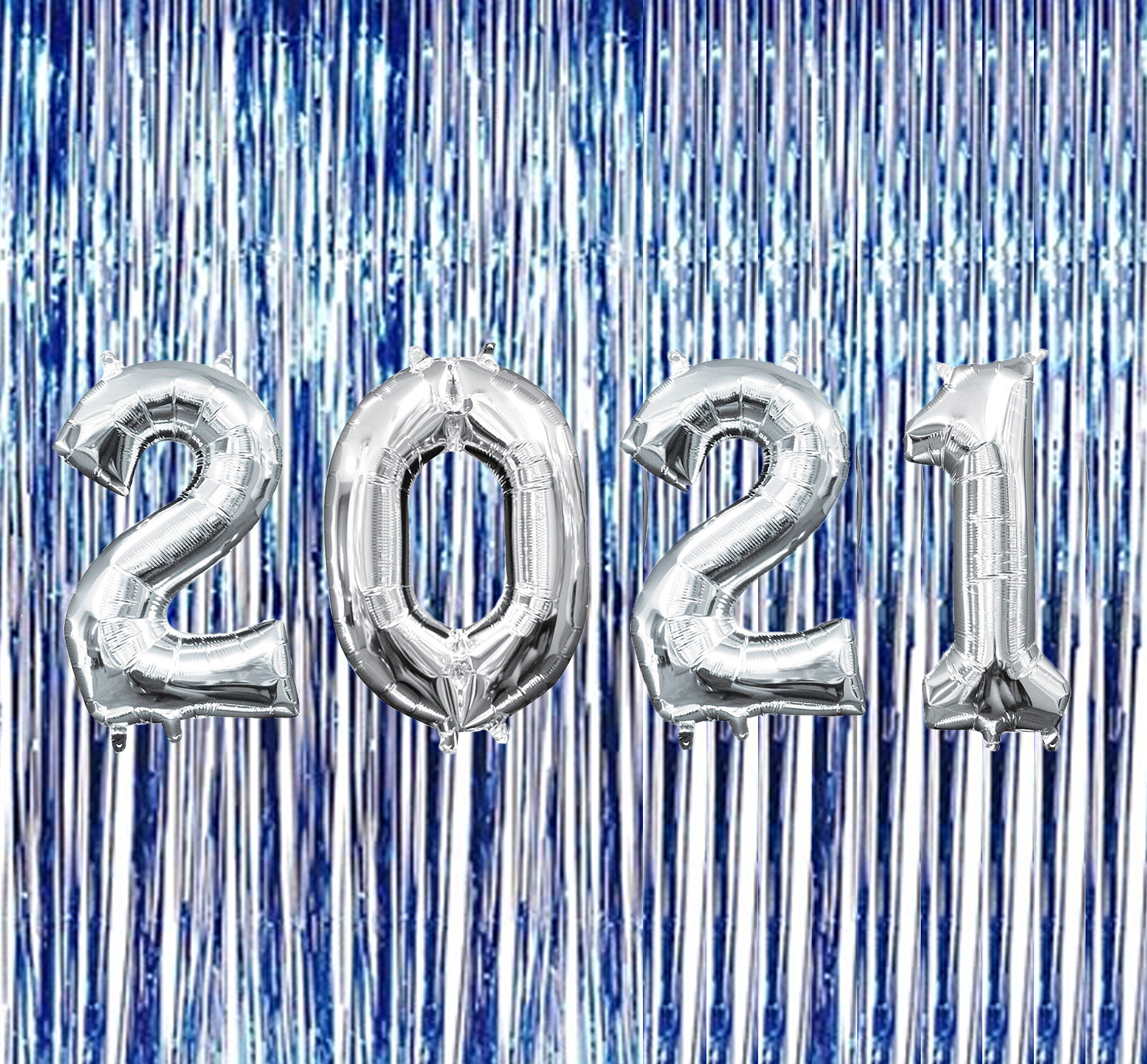 PMU New Year 2021 Silver Balloons with Blue Curtain ...