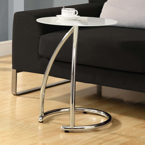 Metal Accent Table with Frosted Tempered Glass, Chrome