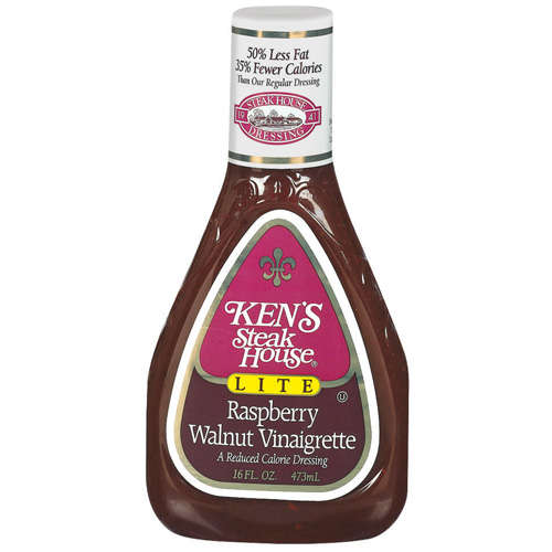 Kens Steak House Lite Raspberry Walnut Vinaigrette Dressing, 16 oz