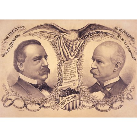 Poster For The 1892 Presidential Election With Candidates Grover Cleveland And Adlai E Stevenson The Democratic Party Ticket Promised Tariff Reform History - Party Tickets