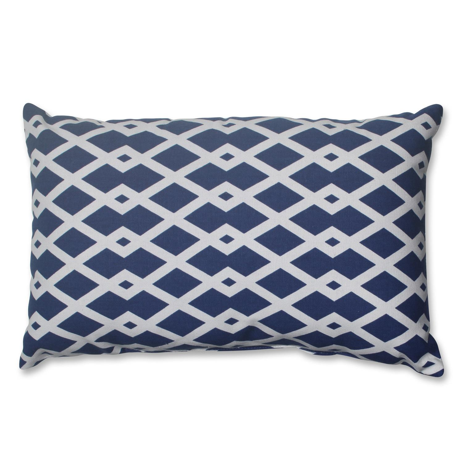 "18.5"" Cascading Diamonds Navy Blue and White Decorative Rectangular Throw Pillow"