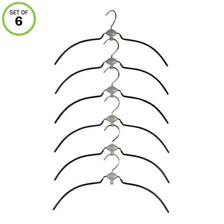 Evelots Cascading Hangers-Shirt/Blouse-Swivel-Non Slip-Metal Rubber