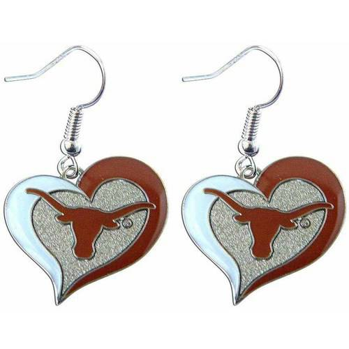 NCAA Texas Swirl Heart Shape Dangle Logo Earring Set