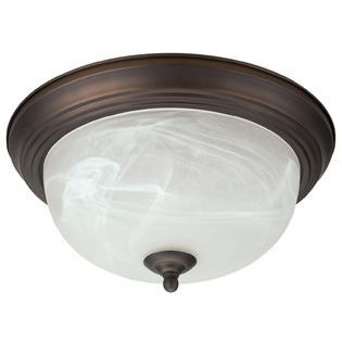"Oil Rubbed Bronze Flush Mount Ceiling Light Fixture Globe 13"" Alabaster Glass Shade"