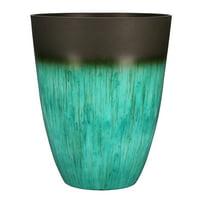 Better Homes & Gardens Valeria 12 inch Round Planter, Bronze/Teal