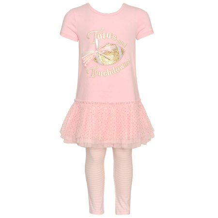 Girls Football Outfits (Bonnie Jean Little Girls Pink Tutus and Touchdowns Football 2pc)