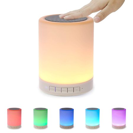 Night Light Bluetooth Speaker, Portable Wireless Bluetooth Speakers with Touch Control 7 Color LED Table Light and Speakerphone/TF Card/AUX-in Supported - image 1 of 13