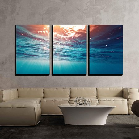 "wall26 - 3 Piece Canvas Wall Art - Underwater View of The Sea Surface - Modern Home Decor Stretched and Framed Ready to Hang - 24""x36""x3 Panels"