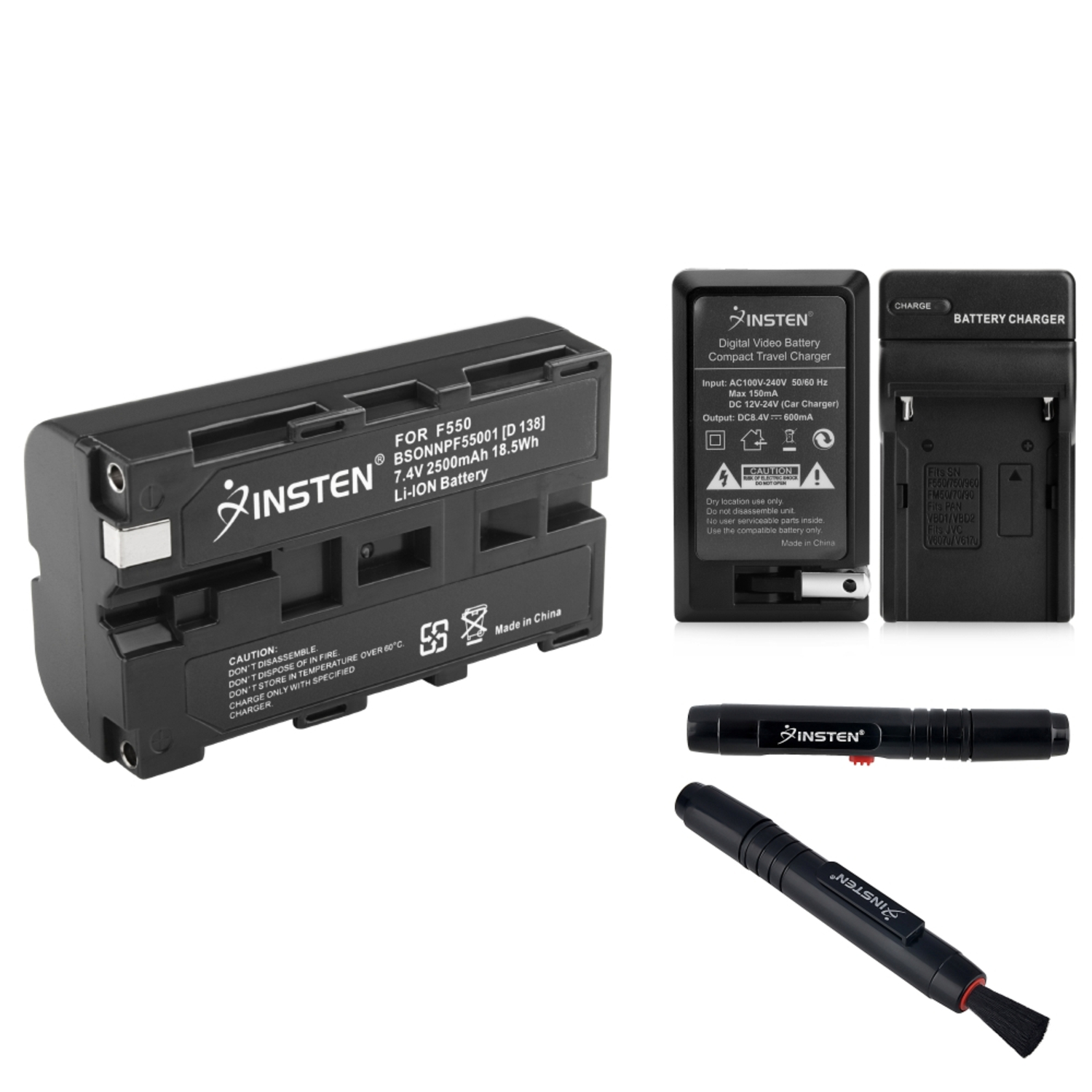 Insten Battery+Charger+Lens Cleaning Pen For Sony NP-F550 DC