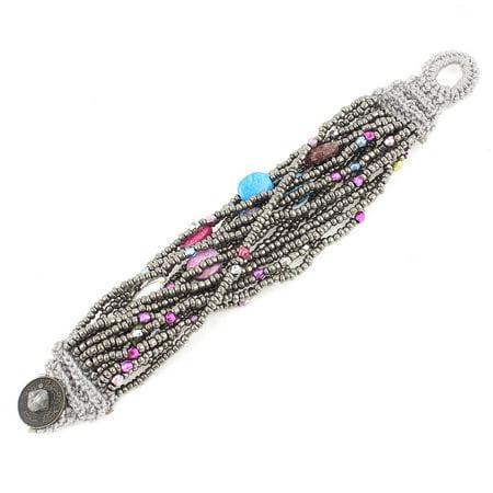- Unique Bargains Woman Button Closure Multilayers Silver Tone Faux Beads Wrist Bracelet Bangle 7