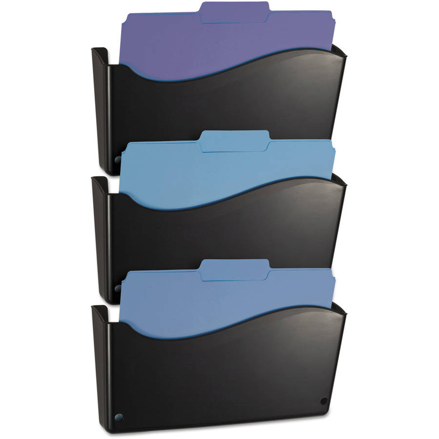 Officemate 2200 Series Wall File System, Letter, Black, 3pk