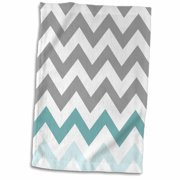 3dRose Grey chevron with mint turquoise zig zag accent gray zigzag pattern - Towel, 15 by 22-inch