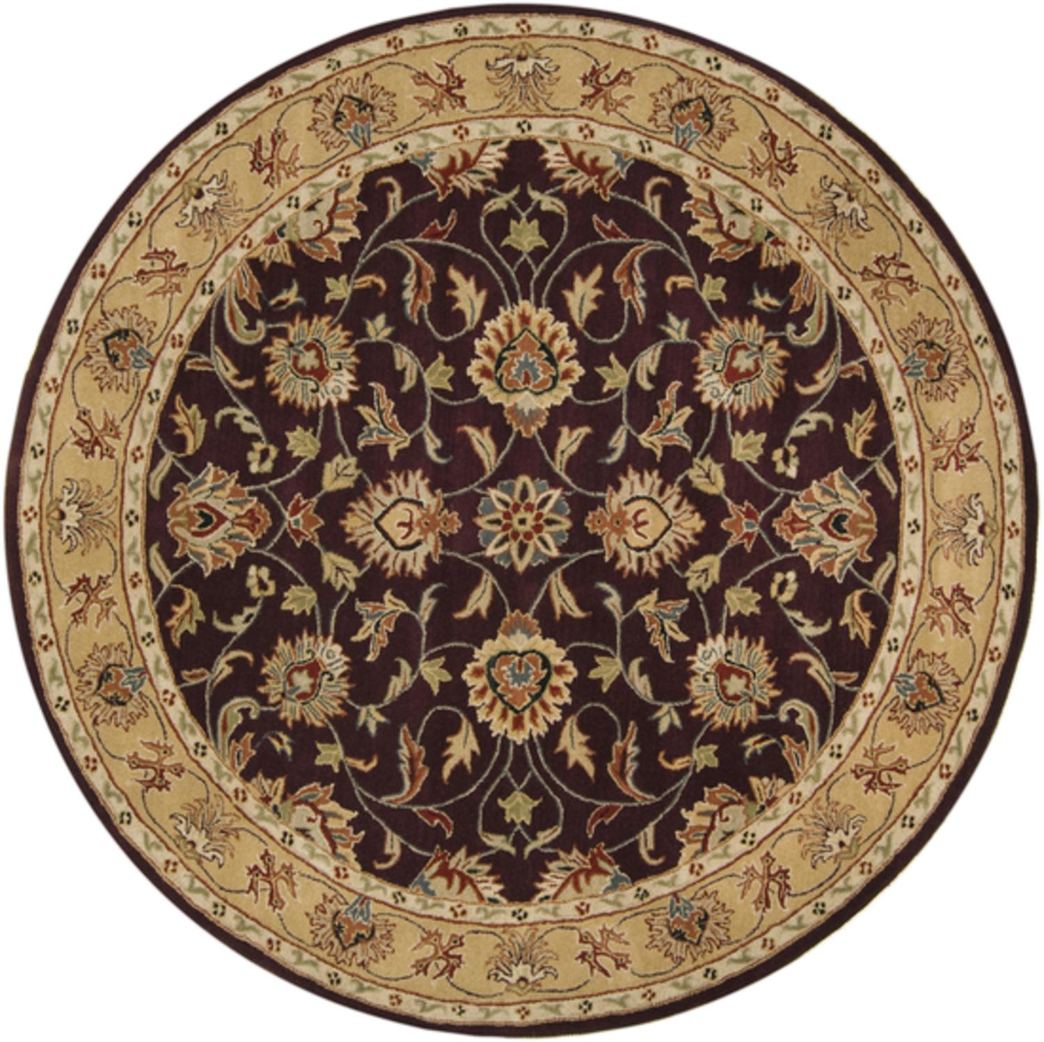 8' Marius Cumin and Sienna Brown Hand Tufted Round Wool Area Throw Rug