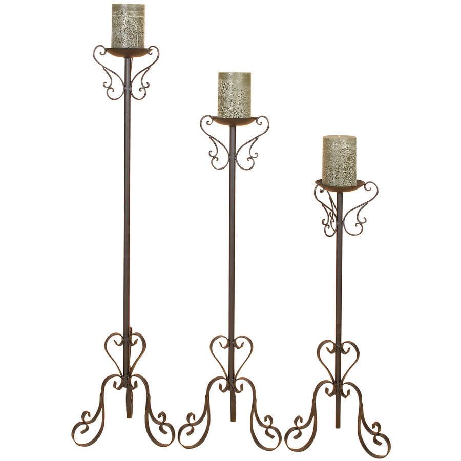 Decmode Metal Candleholder, Set of 3, Brown