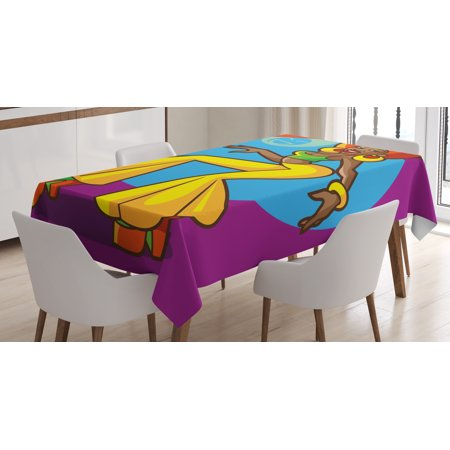 70s Party Decorations Tablecloth, African American Woman Dancing at Disco Funky Fashion Smiling Face, Rectangular Table Cover for Dining Room Kitchen, 60 X 84 Inches, Multicolor, by Ambesonne - 70s Disco Womens Fashion