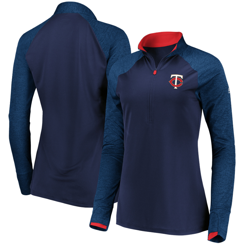 Minnesota Twins Majestic Women's Extremely Clear Cool Base Raglan 1 2-Zip Jacket Navy by MAJESTIC LSG