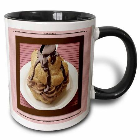 Chocolate Cream Puff (3dRose Chocolate Mousse Cream Puff - Two Tone Black Mug, 11-ounce)