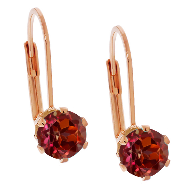 2.00 Ct 6mm Round Shape Red Rhodolite Garnet Rose Gold Plated Stud Earrings