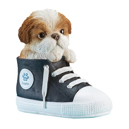 Pet in High-Top Gym Shoe Decorative Figurine - Cute Hand Painted Gift for Dog Lovers - Hand Painted Gilt
