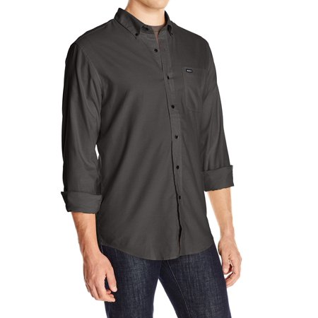 RVCA NEW Gray Mens Size Medium M Oxford Patched Pocket Button Down (Button Down Chest Pocket Oxfords)