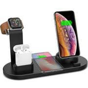Juslike 4 in 1 Wireless Charger Station Stand for iPhone X/XR/XS/XS Max/8/8 Plus, Watch Charger for iWatch Airpods Charging Dock Stand