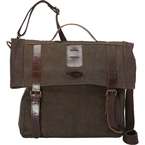Sharo Leather Bags Leather and Canvas Messenger Bag (Brown and Green Two Tone)