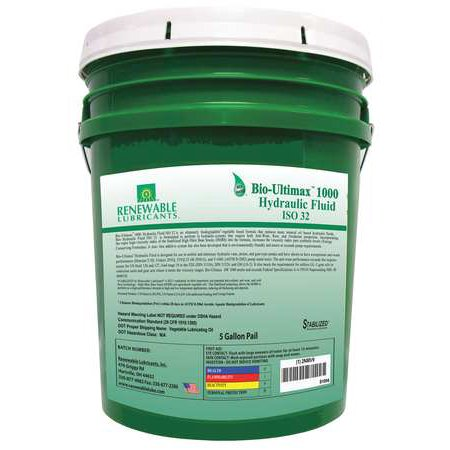 Renewable Lubricants Hydraulic Oil  Bio  Ultimax 1000  5 Gal   Iso 32  81004