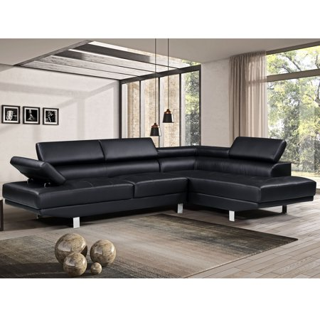 Harper&Bright Designs Modern Faux Leather Sectional Sofa with Adjustable  headrest and Functional Armrest