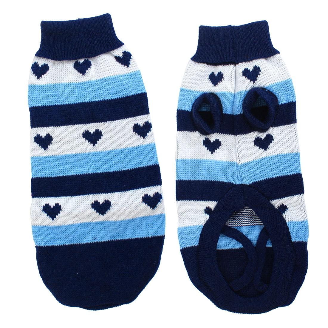 Warm Turtleneck Heart Print Pet Dog Cat Apparel Sweater Blue White ...