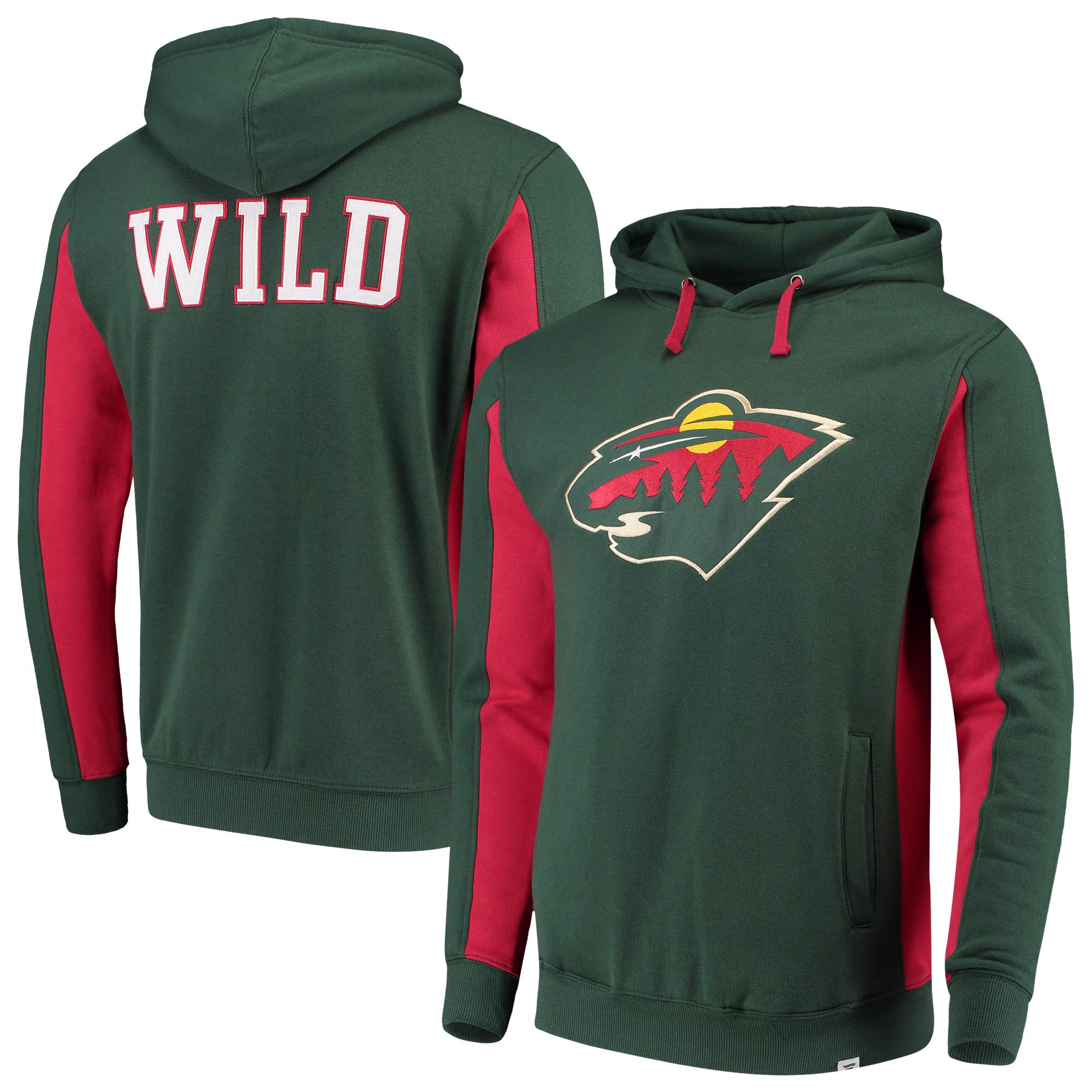 Minnesota Wild Fanatics Branded Colorblock Pullover Hoodie - Green/Red