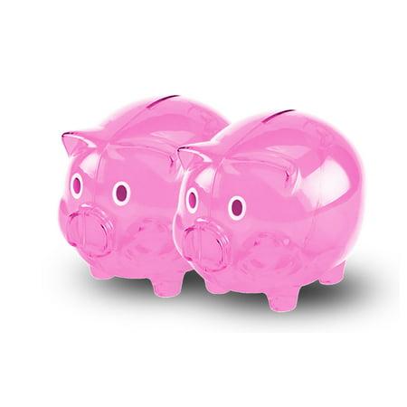 Pink Transparent Cute Piggy Bank, Perfect Unique Gift, Nursery Decor, Keepsake, or Savings Piggy Bank for Kids (2pk)