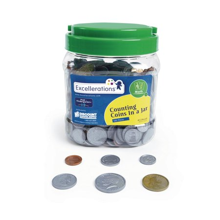 Excellerations Counting Coins Jar (Pack of 500 Coins), Early Math, Educational Toy, Preschool, STEM (Item # COINJAR)