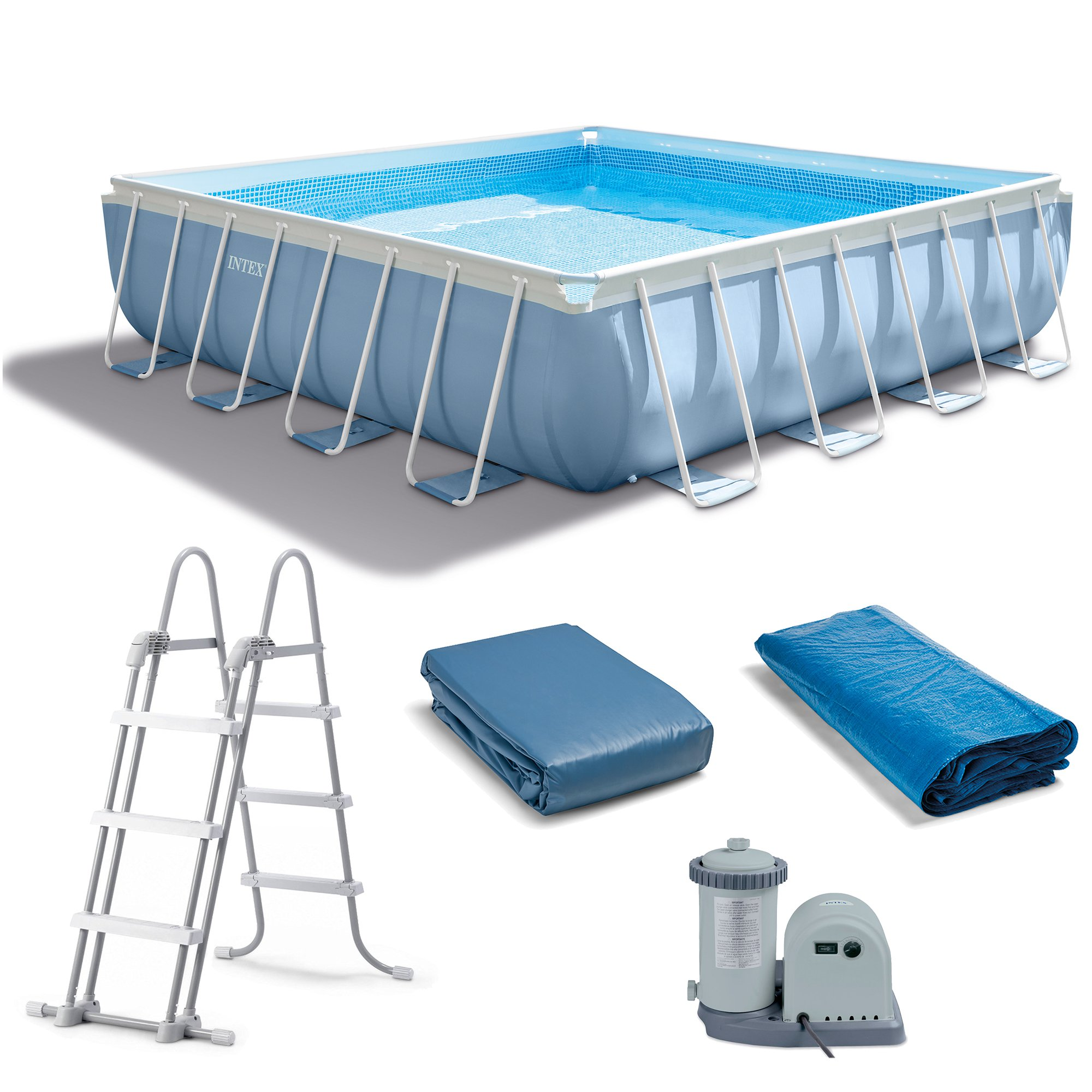 "Square Above Ground Pool intex 14' x 42"" prism xl frame square above ground pool set with"