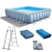 intex 14 x 42 prism xl frame square above ground pool set with filter