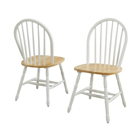 Better Homes and Gardens Autumn Lane Windsor Solid Wood Dining Chairs, White and Oak (Set of 2)