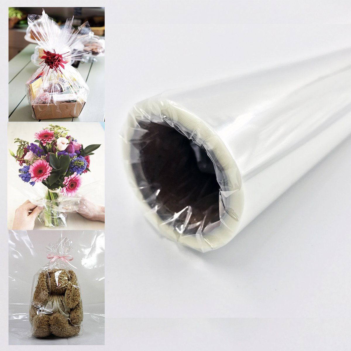 """Clear Cellophane Wrap Roll 16/"""" Inch 100/' Ft For Gift Baskets Arts And Crafts Flo"""