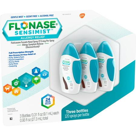 Image of Flonase Sensimist Allergy Relief Nasal Spray, 120 Sprays, 3 Pack, 360 Sprays Total