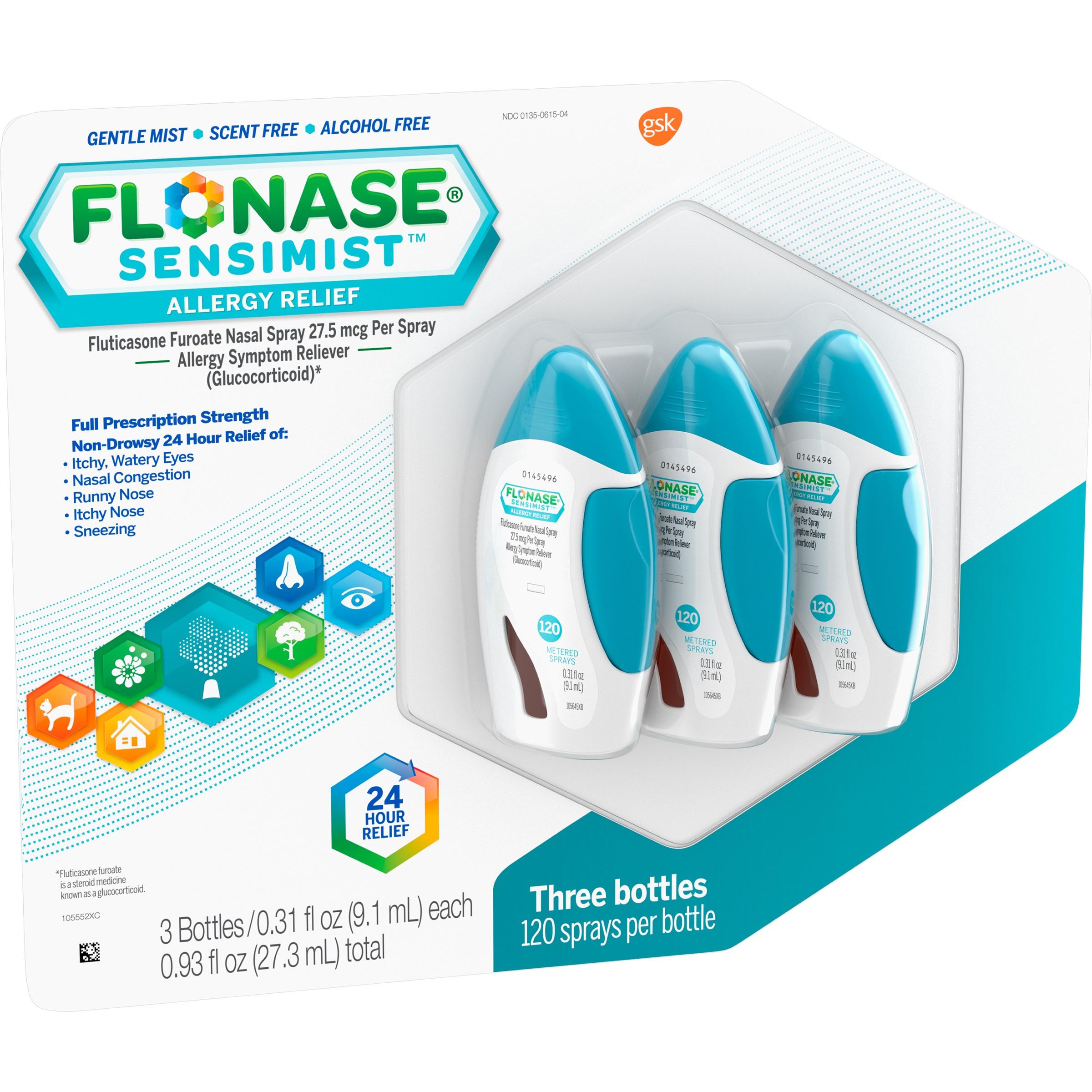Flonase Sensimist Allergy Relief Nasal Spray, 120 Sprays, 3 Pack, 360 Sprays Total