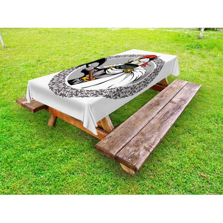 Medieval Outdoor Tablecloth, The Medieval Knight with Traditional Costume and Ancient Mask Heroic Past Theme, Decorative Washable Fabric Picnic Tablecloth, 58 X 120 Inches, Multicolor, by Ambesonne (Medieval Knight Mask)