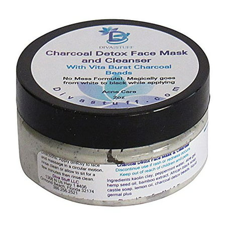 Charcoal Detox Clay Facial Mask and Cleanser With Vita Burst Charcoal Beads,Reduces Pores,Purges Blackheads and Treats Acne, 2oz By Diva Stuff - Demon Mask