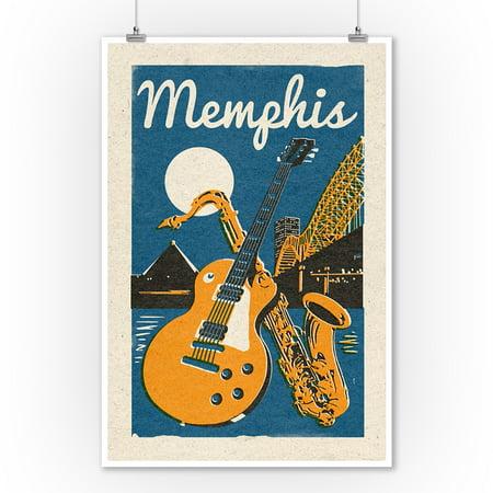 Memphis, Tennessee - Woodblock - Lantern Press Artwork (9x12 Art Print, Wall Decor Travel Poster)