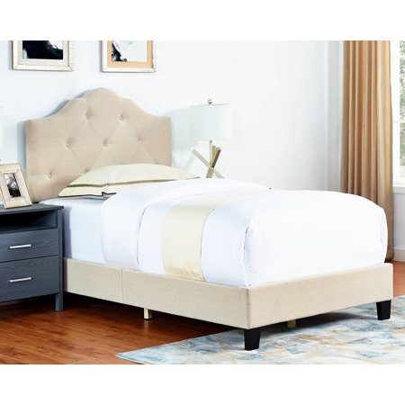 Brianna Upholstered Bed with Button Tufting, Multiple Sizes and Colors ()