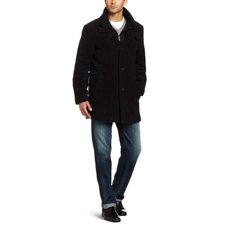 Calvin Klein Black Blazer - Calvin Klein Men's Coleman Top Coat with Knit Bib, Black, 50 Regular