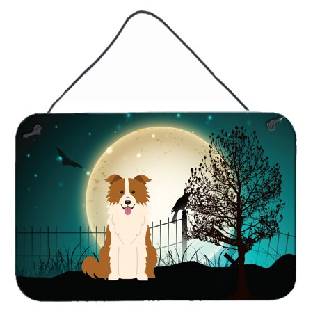 Halloween Border Collie (Halloween Scary Border Collie Red White Wall or Door Hanging Prints)