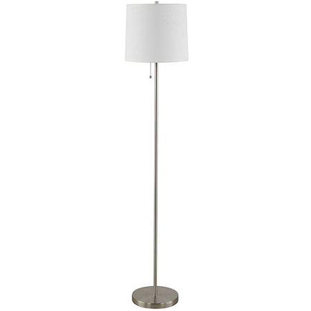 Mainstays white stick floor lamp brushed nickel walmartcom for Mainstays floor lamp with table walmart