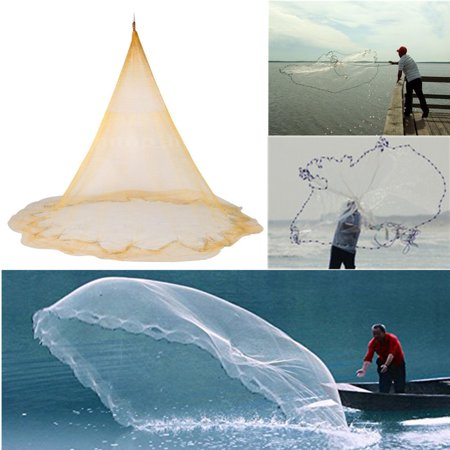 10ft*13ft 3X4M Big Fishing Nylon Monofilament Fish Gill Net Easy Throw For Hand Cast Casting (Monofilament Net)
