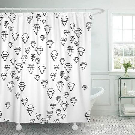 ATABIE Jewel Diamond Pattern Black and White Geometric Ink Random Shower Curtain 66x72 inch