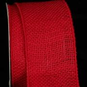 "Cheery Red Burlap Wired Craft Ribbon 3"" x 20 Yards"