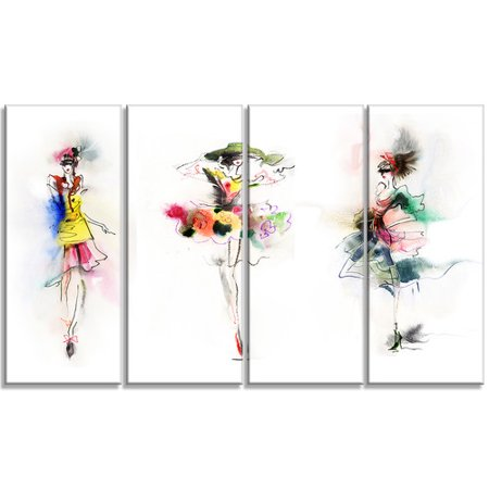 Design Art Fashion Girls Posing Contemporary 4 Piece Graphic Art on Wrapped Canvas Set