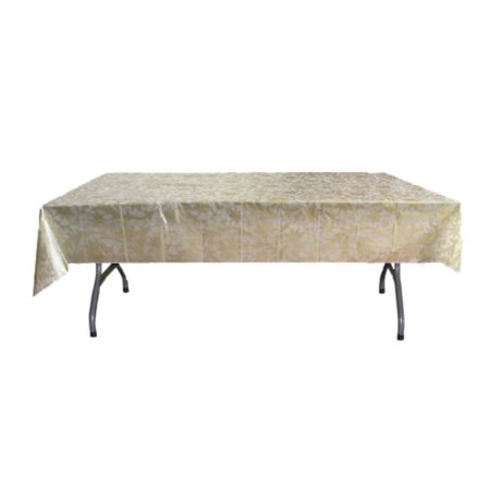 Exquisite Premium Plastic Tablecloth 54in. x 108in. Rectangle Table Cover - Gold Lace - Gold Plastic Tablecloths